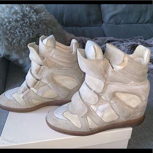 Isabel Marant Bekett Calfskin Suede Wedge Sneaker